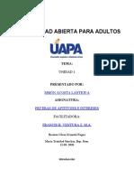 TAREA 1 DE PRUEBAS DE APTITUDES E INTERESES