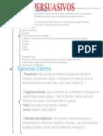 cuadro sinóptico de la estructura interna y externa de los textos persuasivos.