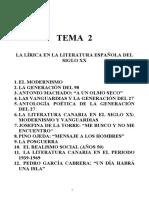 2. LA LÍRICA EN LA LITERATURA ESPAÑOLA DEL SIGLO XX