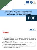 Arhitectura programelor operaționale – politica de coeziune 2021-2027