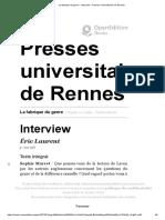 Laurent, La fabrique du genre - Interview Presses universitaires de Rennes