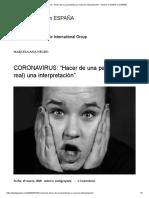 """CORONAVIRUS_ """"Hacer de una pandemia (un real) una interpretación"""" – BLOG de ZADIG en ESPAÑA"""
