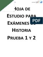 Hoja de Estudio para Exámenes de Historia