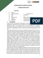 PROGRAMACIÒN DE AREA  QUINTO -marzo- 2017