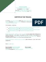 Certificat de travail...