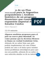 La ilusión de un Plan Marshall para la Argentina pospandemia   Análisis histórico de un programa financiero que consolidó la expansión imperial de Estados Unidos