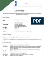 Curriculum Vitae of Dr. Yunus