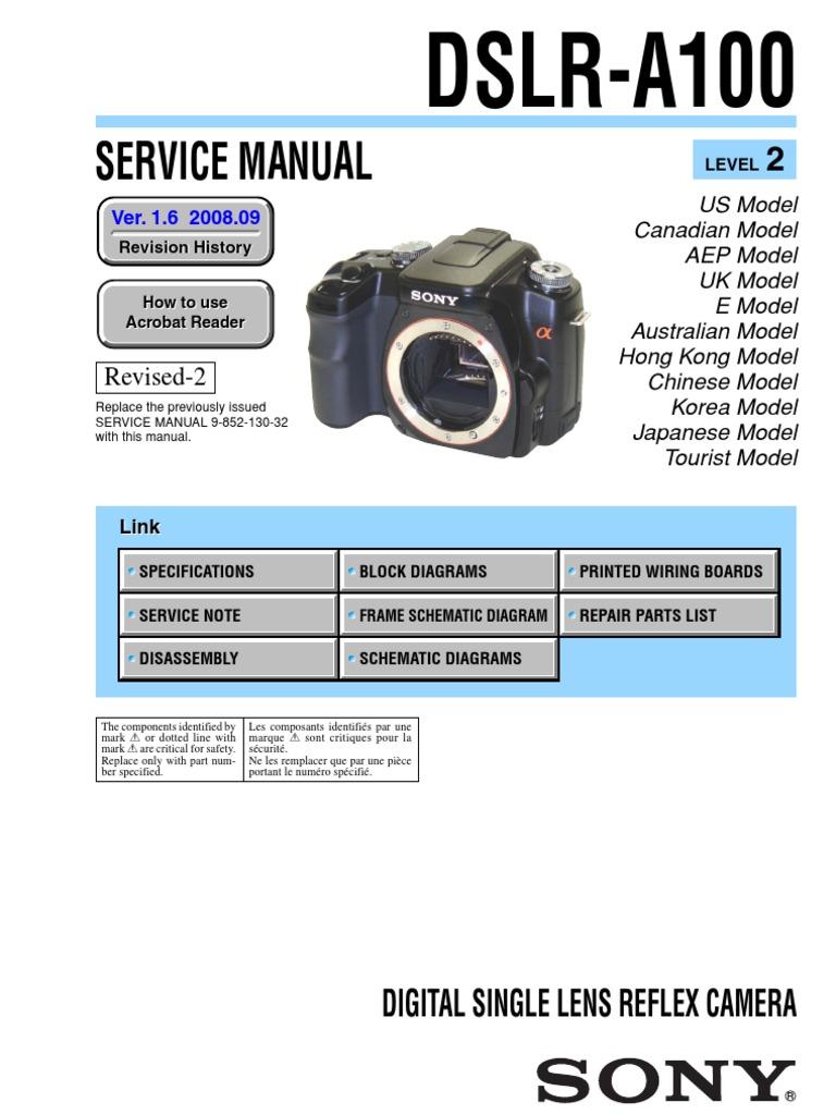 Sony Dslr-A100 Service Manual Level 2 Ver 1 6 2008 09 Rev-2