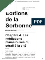 Esclaves et maîtres - Chapitre 4. Les médiations mameloukes du sérail à la cité - Éditions de la Sorbonne