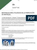 tema 2 materiales - MATERIALES MAS UTILIZADOS EN LA FABRICACIÓN DE MATRICES