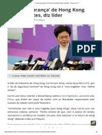 'Lei de segurança' de Hong Kong define limites, diz líder - Terça Livre TV