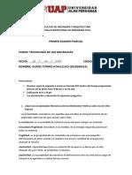 EXAMEN PARCIAL DE TECNOLOGIA DE LOS MATERIALES