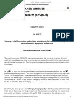 Whitmer - Executive Order 2020-73 (COVID-19)