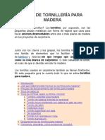 TIPOS DE TORNILLERÍA PARA MADERA