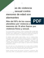 Las cifras de violencia física y sexual contra menores de edad son alarmantes