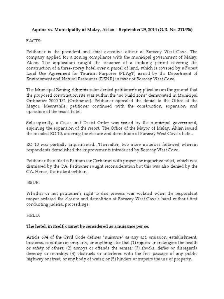 Aquino Case Docx Nuisance Property