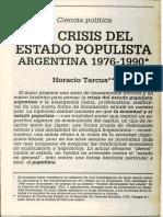 """Horacio Tarcus, """"La crisis del Estado populista"""""""