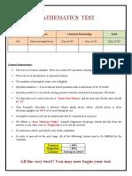 - Mathematics test paper part - 1