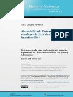Abusabilidad Potencialidad de Resultar Victima de Abuso Sexual Intrafamiliar 2008