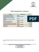 PRECIOS PRODUCTOS DE DESINFECCION