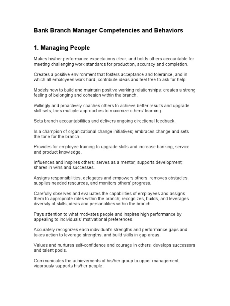 branch manager competencies and behaviors knowledge