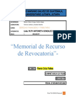 Memorial del Recurso de Revocatoria Articulo 122 C. Tributario