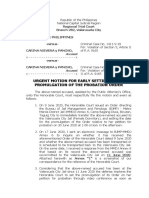 urgent motion for early setting of the promulgation of probation order nievera