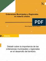 ORDENANZAS MUNICIPALES Y REGIONALES EN MATERIA URBANA