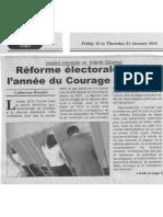 Réforme électorale 2016, l'année du courage politique