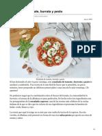 Ensalada de tomate burrata y pesto