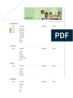 Listado de compras y especificaciones
