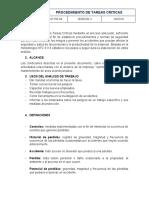 PROCEDIMIENTO DE TAREAS CRITICAS