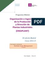 Programa Máster Organiz. e Ing. de prod y dirección de plantas industriales