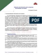 Contractualizacion Del Derecho Dela Empresa. Sociedades Cerradas