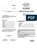 Certificate of Operation, Machinery