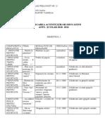 PLANIFICAREA ACTIVITAŢILOR EDUCATIVE AN ŞCOLAR 2010-2011