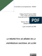 La perspectiva de género en la Universidad Nacional de Luján