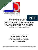 PROTOCOLO DE SEGURIDAD SANITARIA