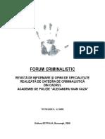 Forum Criminalistic nr. 1 of 2008