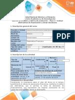 Guía de actividades y rúbrica de evaluación – Paso 2 – Evaluar alternativas de financiación y tomar decisiones
