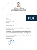 Carta de felicitación del presidente Danilo Medina a Rosanna Ruiz, por su designación como presidenta ejecutiva de la Asociación de Bancos Comerciales de República Dominicana