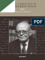 Persona y libertad. Obras completas de Leonardo Polo. Serie A, volumen XIX