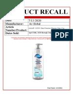 Bluman Hand Sanitizer 2020 Recall