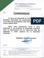 COMMUNIQUE (Exécutions Budgétaires 6.12ème) (03 Juillet 2020) (DRK)