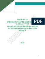 ORIENTACIONES PARA EL CICLO VI Y  VII SFT