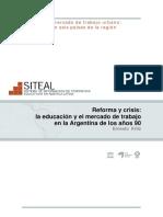 Kritz (2005). Reforma y crisis la educación y el mercado de trabajo en la Argentina de los años 90