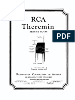 RCA Theremin Service Notes - RCA (1929)