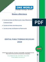 Edital do Ensino à Distância ISET turma de Julho 2020