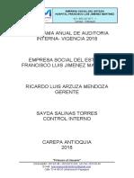 Programa Anual de Auditorias 2018