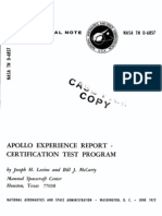 Apollo Experience Report Certification Test Program